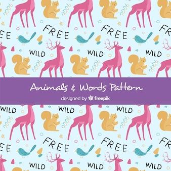 Animali e foresta disegnati a mano modello di parole