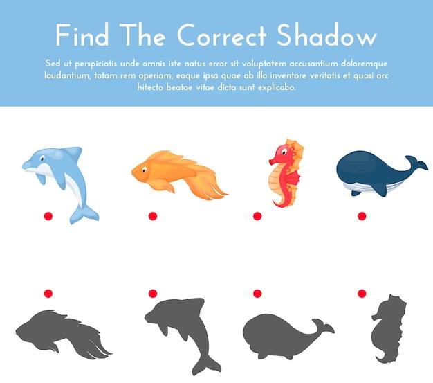 Animali e le loro forme gioco di abbinamento ombra