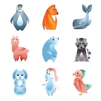 Animali in uno stile geometrico con l'uso di sfumature e forme morbide insieme di illustrazioni colorate