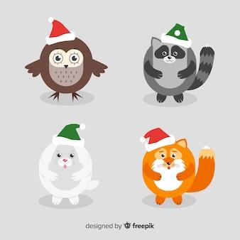Animali invernali con cappello
