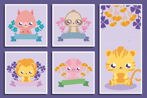 Animali kawaii cartoni animati e fiori