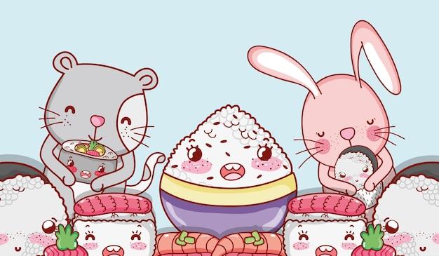 Animali kawaii e cibo giapponese