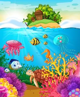 Animali marini che nuotano sotto il mare