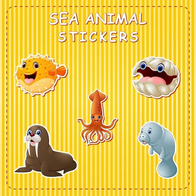 Animali marini simpatico cartone animato su adesivo