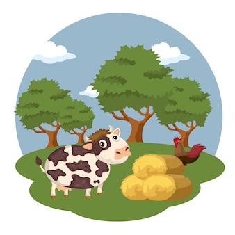 Animali nella scena della fattoria