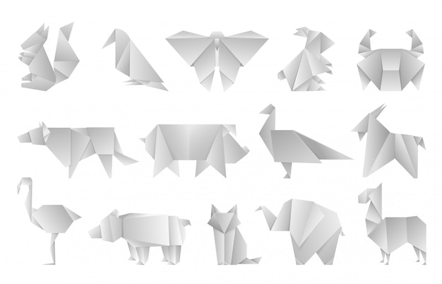 Animali origami bianchi. forme di carta piegate geometriche, modelli di poligono astratto farfalla drago drago. illustrazione dell'asia dello zoo di progettazione di origami del giappone
