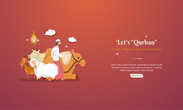 Animali per qurban o feste di sacrificio per celebrare la festa islamica di eid al-adha