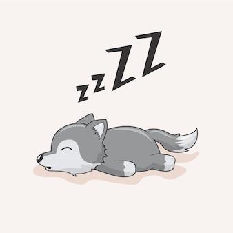 Animali pigri del coyote di sonno del fumetto del lupo