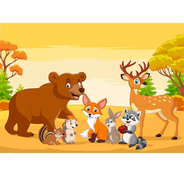 Animali selvatici del fumetto nella foresta di autunno