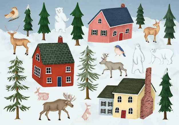 Animali selvatici disegnati a mano che visitano un villaggio di notte