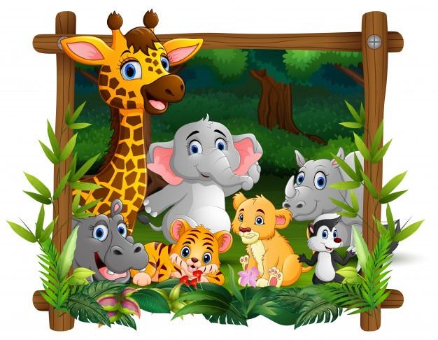 Animali selvatici felici nella foresta di cornice