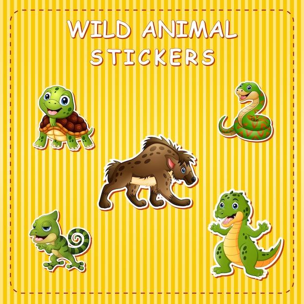 Animali selvatici simpatico cartone animato su adesivo
