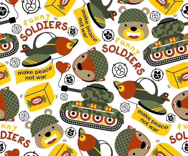 Animali soldato cartoni animati e veicoli militari