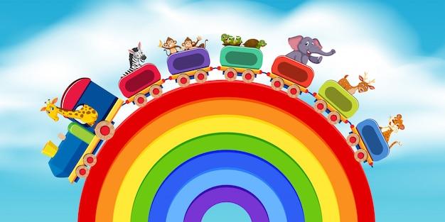 Animali sulla strada arcobaleno del treno