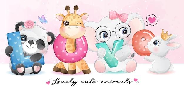 Animali svegli con l'illustrazione di alfabeto di amore