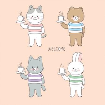 Animali svegli del fumetto e vettore della tazza di caffè.