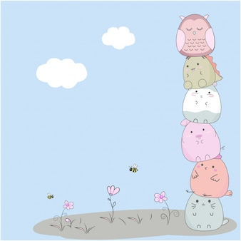 Animali svegli di doodle con lo sfondo del cielo