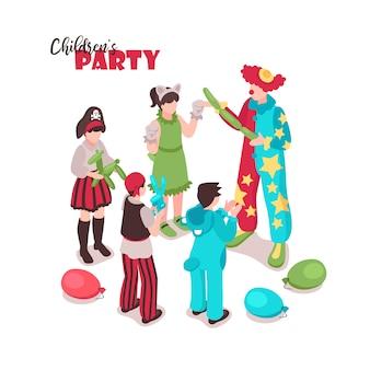Animatore per bambini isometrico con testo ornato e gruppo di bambini in costumi festivi con animatore