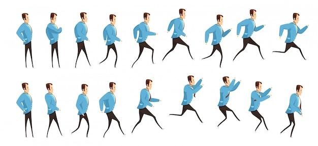 Animazione con sequenza fotogrammi di correre e saltare l'uomo