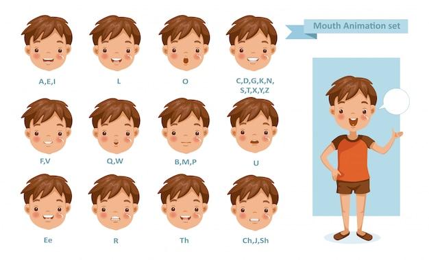 Animazione del ragazzo della bocca. raccolta di sincronizzazione labiale per l'animazione.