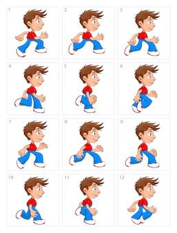 Animazione di esecuzione ragazzo dodici fotogrammi vector cartoon isolato pose