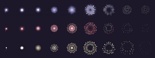 Animazione di fuochi d'artificio. cornici di esplosione di fuochi d'artificio animati, storyboard di esplosione di petardi per feste. insieme dell'illustrazione di esplosioni dei fuochi d'artificio. sequenza di esplosioni, raccolta di fuochi d'artificio