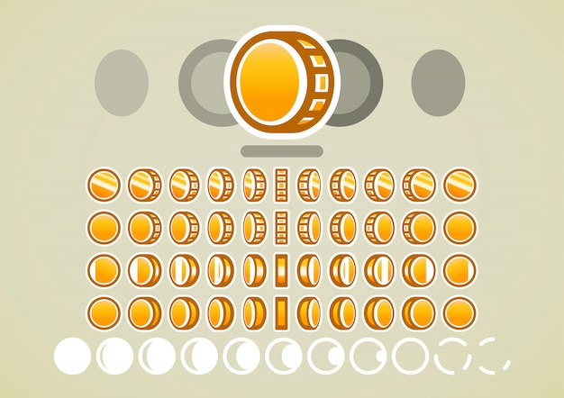 Animazione di monete d'oro per videogiochi