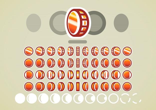 Animazione di monete di bronzo per videogiochi