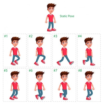 Animazione di ragazzo che cammina otto deambulatori 1 pongono vector cartoon isolato characterframes statici