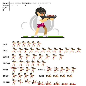 Animazione di un ragazzo con un fucile da caccia per la creazione di un videogioco