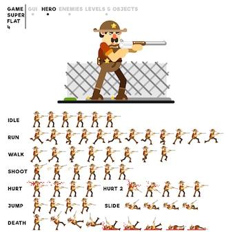 Animazione di uno sceriffo con una pistola per la creazione di un videogioco