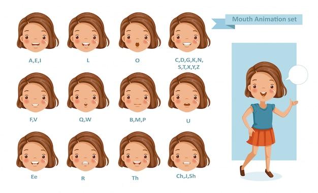 Animazione ragazza bocca. raccolta di sincronizzazione labiale per l'animazione.