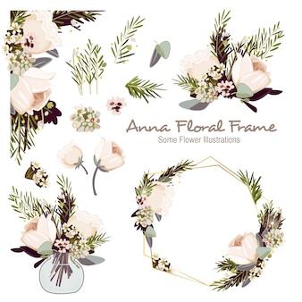 Anna geometrical floral frame ornament