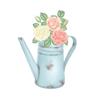Annaffiatoio blu chiaro vintage con un mazzo di rose rosa e bianche