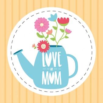 Annaffiatoio felice di giorno di madri con l'illustrazione di giorno di madri dei fiori