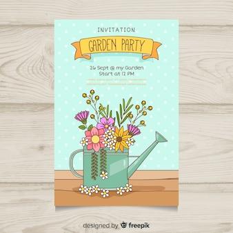 Annaffiatoio pieno di fiori primavera template poster festa