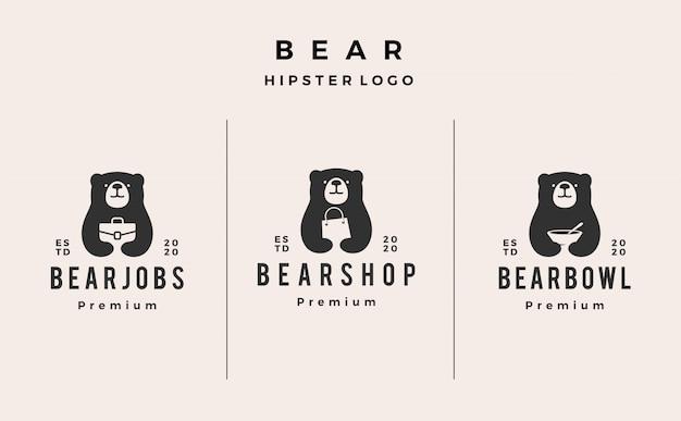 Annata dei pantaloni a vita bassa dell'illustrazione dell'icona di logo della ciotola dell'officina dell'orso retro