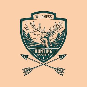 Annata del logo del badge di caccia