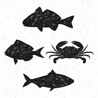Annata di logo dei frutti di mare, siluetta isolata dei pesci