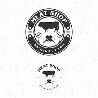Annata di logo del negozio di carne