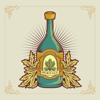 Annata di vettore un'illustrazione di logo del vino della bottiglia