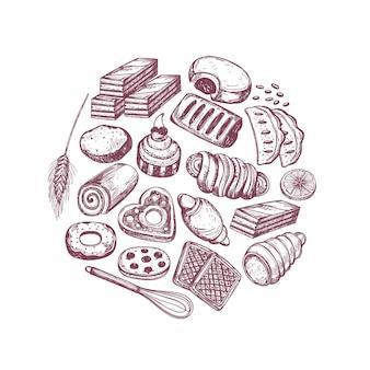 Annata disegnata a mano del forno