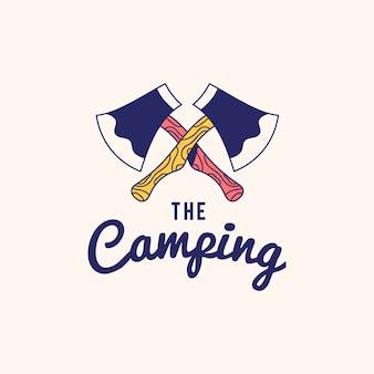 Annata il vettore di progettazione del testo di logo di campeggio