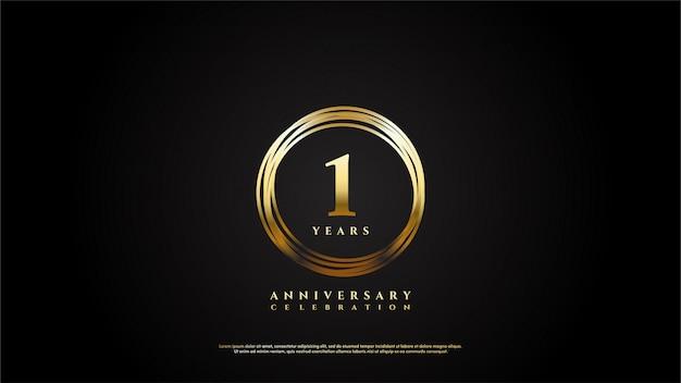 Anniversario al 1 ° con un'illustrazione di numeri d'oro all'interno della linea del cerchio d'oro.
