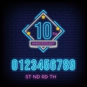 Anniversario con modifica del numero in insegne al neon