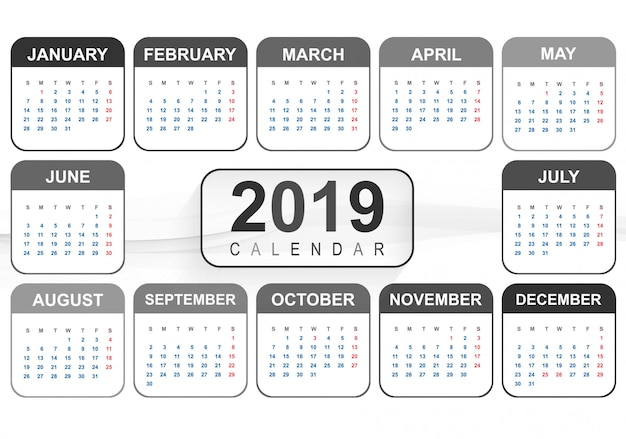 Anno 2019, calendario design creativo