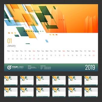Anno 2019, design del calendario.