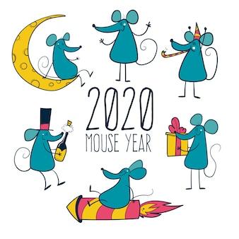 Anno del mouse del 2020. collezione di set di topi disegnare a mano