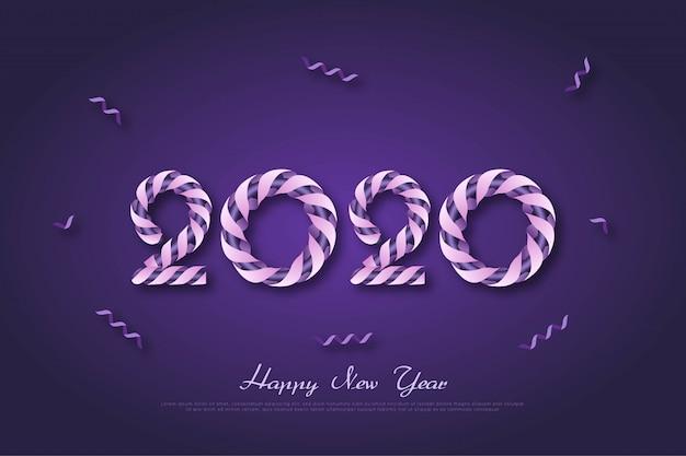 Anno nuovo 2020 anniversario sfondo con nastro viola