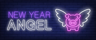 Anno nuovo angelo testo al neon e maiale con le ali